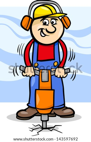 Cartoon Vector Illustration of Man Worker or Workman with Pneumatic Hammer