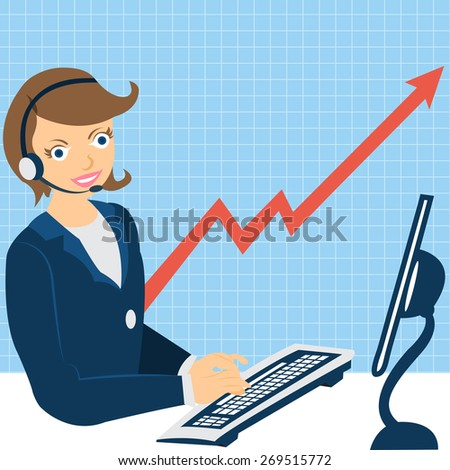Cartoon vector illustration of of a young female character with earphones, working on the computer, with a statistic graph on the background. - stock vector