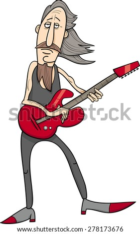 Cartoon Vector Illustration of Old Rock Man Musician with Electric Guitar
