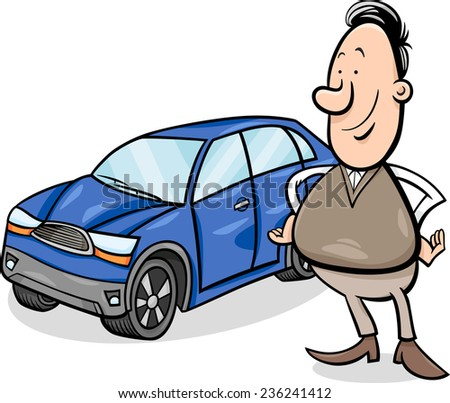 Cartoon Vector Illustration of Proud Man and his New Car
