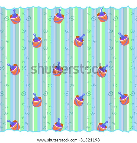 Cartoon vector illustration of retro funky striped background with cool little Beach Toys-bucket and shovel - stock vector