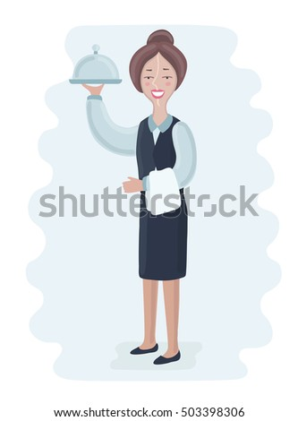 Cartoon vector illustration of smiling waitress with silver tray