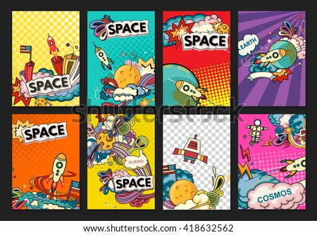 Cartoon vector illustration of space. Moon, planet, rocket, earth, cosmonaut, comet, universe. Classification, milky way. Hand drawn. Comics cosmos. - stock vector