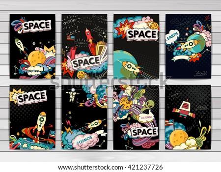 Cartoon vector illustration of space. Moon, planet, rocket, earth, cosmonaut, comet, universe. Classification, milky way. Hand drawn. Comics cosmos. - stock vector