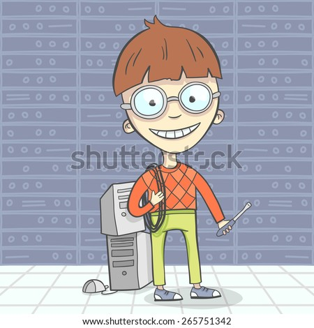 Cartoon vector illustration of system administrator character or computer man, geek. Flat design - stock vector