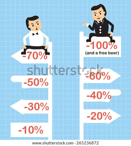 Cartoon vector illustration of two businessmen in their discount competition. - stock vector