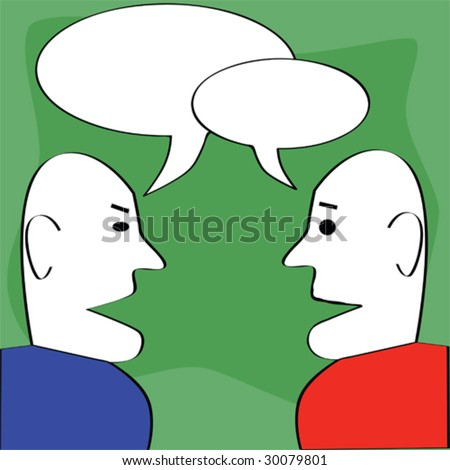 Cartoon vector illustration of two man talking, with cartoon dialog balloons on top