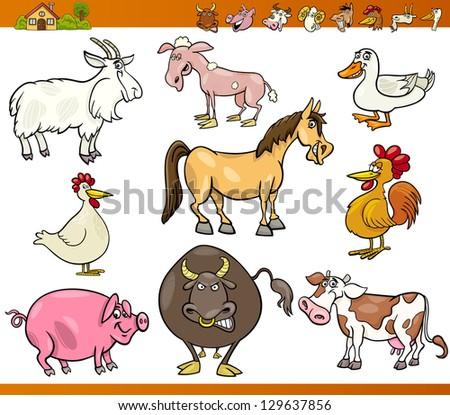 Cartoon Vector Illustration Set of Comic Farm and Livestock Animals isolated on White - stock vector