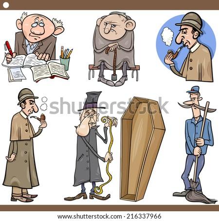 Cartoon Vector Illustration Set of Retro People Characters - stock vector