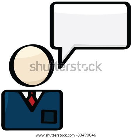 Cartoon vector illustration showing a businessman with a talk balloon over him - stock vector