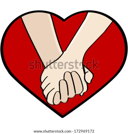 Cartoon vector illustration showing a close-up of a couple holding hands, framed by a heart