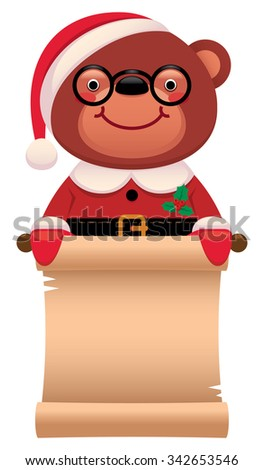 Cartoon vector illustration Teddy bear Santa Claus with Christmas scroll isolated on white background