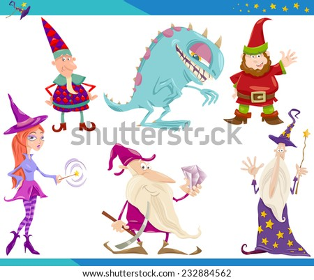 Cartoon Vector Illustrations Set of Fairytale or Fantasy Characters - stock vector