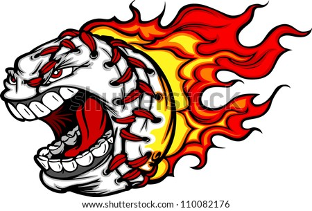 Cartoon Vector Image of a Flaming Baseball with Angry Face - stock vector