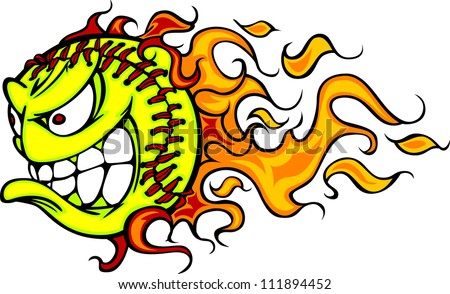 Cartoon Vector Image of a Flaming Fast Pitch Softball with Angry Face - stock vector