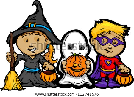 Cartoon Vector Image of a Happy Halloween Children Girl With Trick or Treat Jack-O-Lanterns