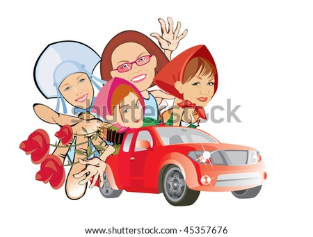 cartoon vector image of four girls in red car. isolated on white. good use for party cards and posters - stock vector