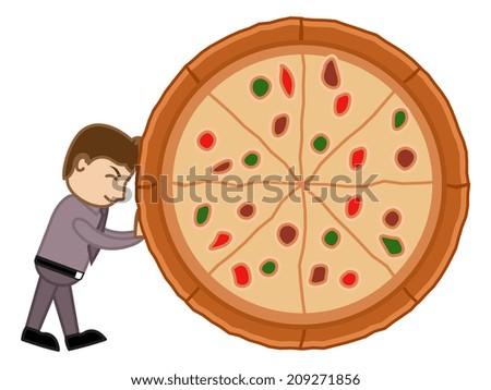 Cartoon Vector Man Dragging a Pizza - No to Junk Food Concept - stock vector
