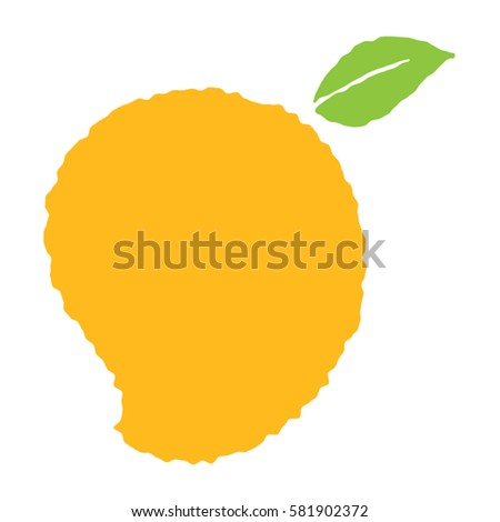 cartoon vector mango fruit illustration with a stylized outline