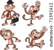 Cartoon vector monkeys. All in separate layers for easy editing. - stock