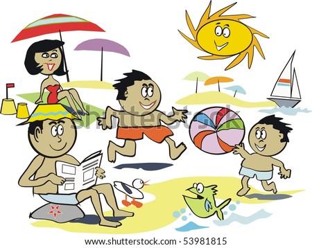 Cartoon vector of afro American family at beach. - stock vector