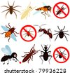 Cartoon Vector of anti pest bugs mosquito spider termite. A set of cute and colorful icon collection isolated on white background - stock photo