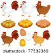 Cartoon Vector of free range Chicken, Hen, Rooster with golden egg. A set of cute and colorful icon collection isolated on white background - stock vector