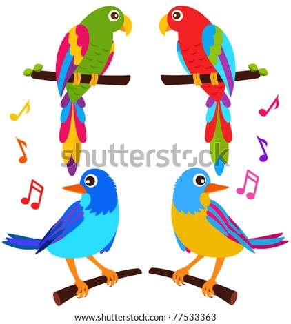 Cartoon Vector of Parrots and Birds singing on a branch. A set of cute and colorful icon collection isolated on white background