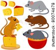 Cartoon Vector of Rat Mouse and Cheese. A set of cute and colorful icon collection isolated on white background - stock vector