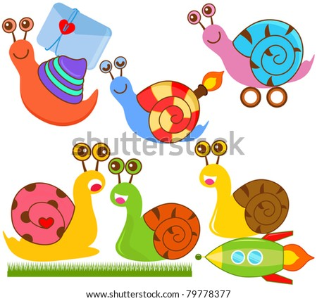 Cartoon Vector of slow and speedy Snails. A set of cute and colorful icon collection isolated on white background