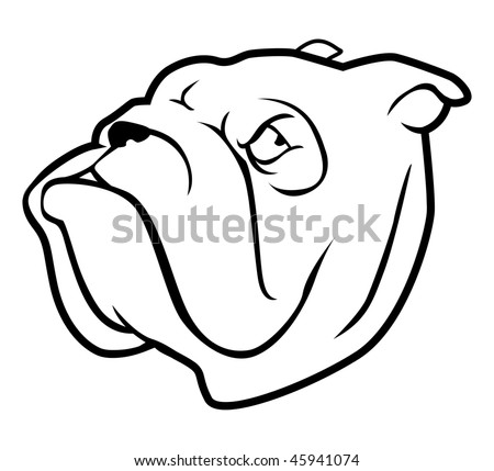 cartoon vector outline illustration bulldog