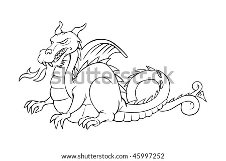 cartoon vector outline illustration medieval dragon - stock vector