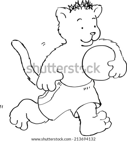 cartoon vector outline illustration of a cheetah in trunks running