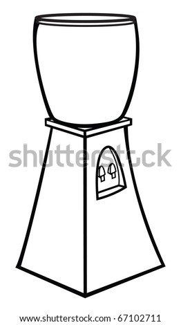 cartoon vector outline illustration of a water cooler - stock vector