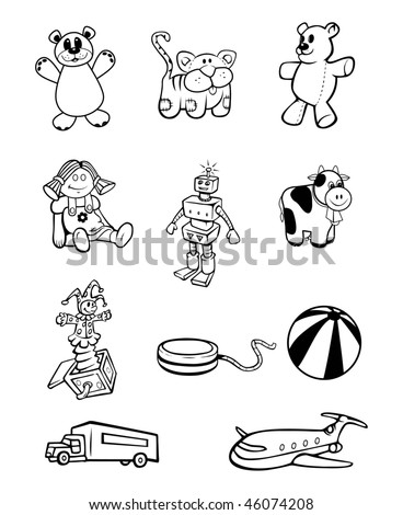 cartoon vector outline illustration toy collection
