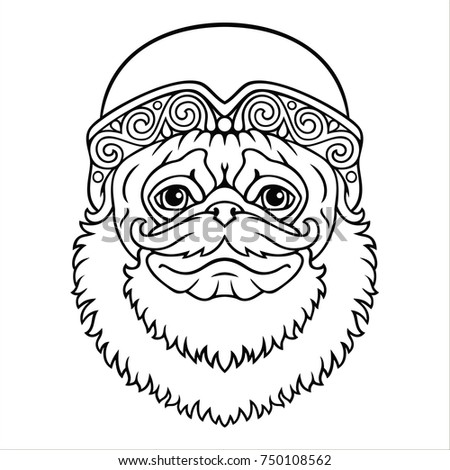 Cartoon vector pug dog in Santa's hat with beard and mustache. Black and white coloring.