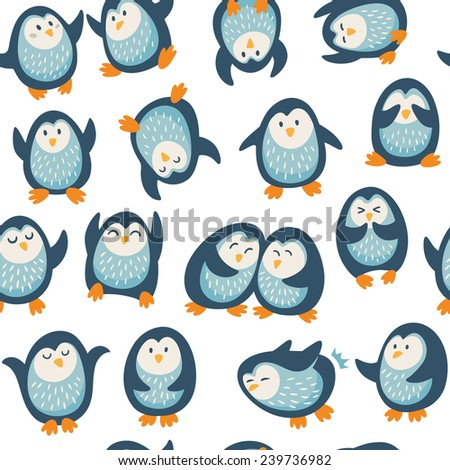 Cartoon vector seamless pattern with penguins - stock vector