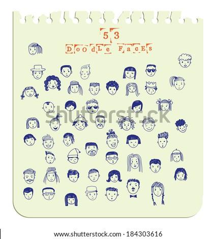 Cartoon vector set. 53 different funny faces. - stock vector