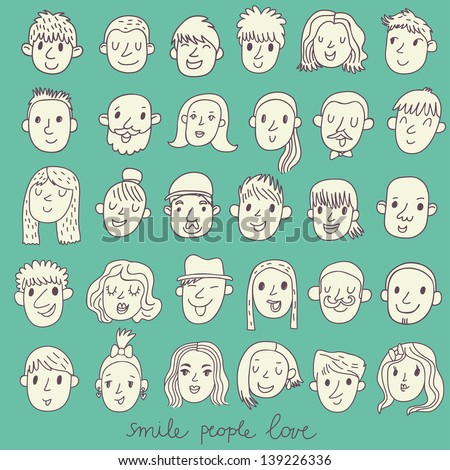 Cartoon vector set � 36 different funny faces. Girls, boys, men, women in white colors - stock vector
