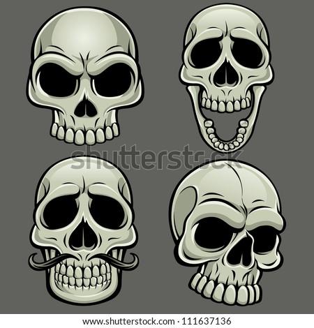Cartoon Vector Skull Collection - stock vector