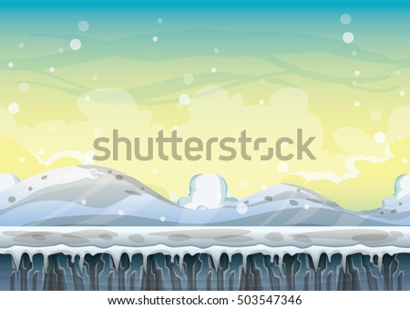 cartoon vector snow landscape background with separated layers for game and animation game design asset in 2d graphic