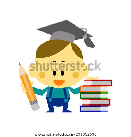 Cartoon Vector The Boy Wear a Mortar Board standing side pile many books, concepts for Education - stock vector