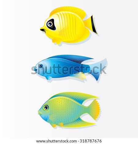 Cartoon Vector Tropical Fish. Butterfly Fish, Neon Fish and Queen Angel. - stock vector