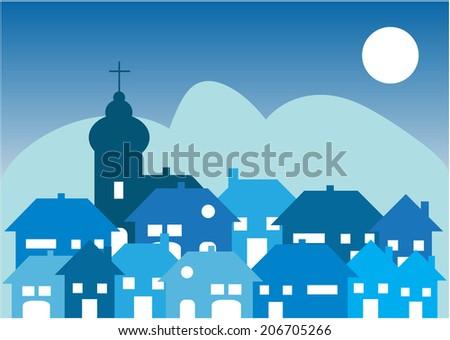 cartoon vector village by night - stock vector