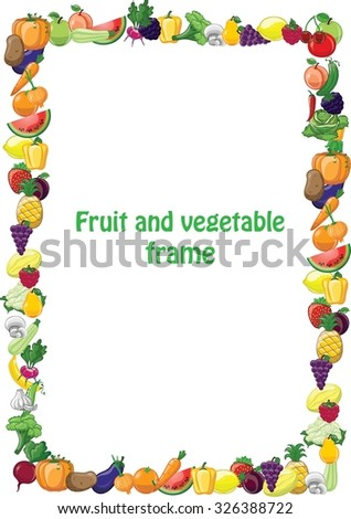 Cartoon vegetables and fruits frame - stock vector