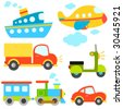 cartoon vehicles vector - stock vector
