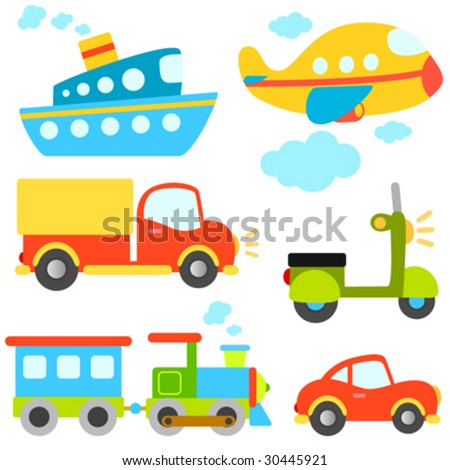 cartoon vehicles vector - stock vector