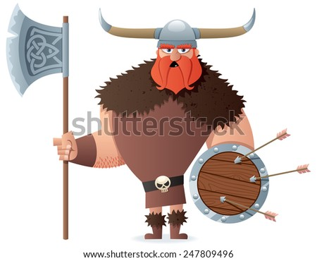 Cartoon Viking over white background. No transparency used. Basic (linear) gradients used. - stock vector