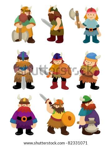 cartoon Viking Pirate icon set - stock vector