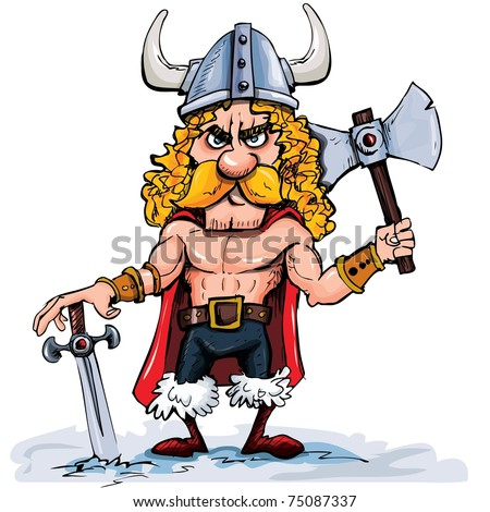 Cartoon viking with a big axe. Isolated on white - stock vector